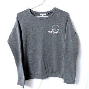 Grey Embroidered Skull Sweater